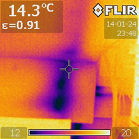 Thermal imaging shows moisture at this dormer.